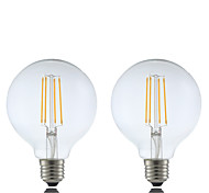 6W E27 LED Filament Bulbs G95 4 COB 600 lm Warm White Dimmable AC 220-240 V 2 pcs