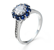 Fashion Ocean Blue Crystal Ring White Gold Plated Zircon Beaded Prong Setting Ring