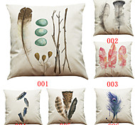 Set of 6 Hand-painted feather  pattern   Linen Pillowcase Sofa Home Decor Cushion Cover (18*18inch)