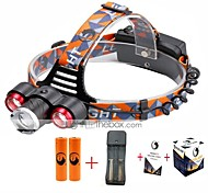 U'King® ZQ-X814R#3-US Three Head 1*T6/2*XPE 5000LM Zoomable Multifunction 4Modes Headlamp Bike Light Kits with Safety Rear LED