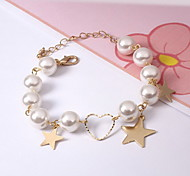 Bracelet Charm Bracelet Pearl Alloy Gold Plated Star Others Gothic Fashion Birthday Gift Valentine Christmas Gifts Jewelry Gift Gold White