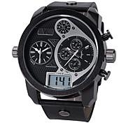 Unisex Reloj de Moda Reloj de Pulsera Cuarzo Esfera Grande Aleación Banda Cool Negro Blanco Negro