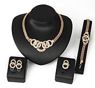 Jewelry 1 Necklace 1 Pair of Earrings 1 Bracelet 1 Ring Diamond Wedding Party Halloween Alloy Zircon 1set Gold Wedding Gifts