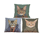Set of 3 Meow star people  pattern  Linen Pillowcase Sofa Home Decor Cushion Cover