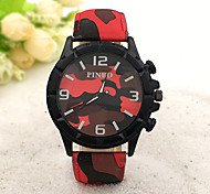 Men's Fashion Watch Quartz Rubber Band Black Blue Red Brand