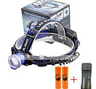 U'King® ZQ-X837BL#3-EU CREE XML T6 Zoomable 180 Rotate 3Modes Headlamp Bike Light Kits with Rear Safety LED