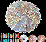 24pcs 24 Kinds of Style Square Hollow Manicure Stickers