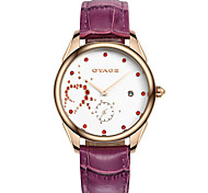 Women's Fashion Watch Swiss Designer Quartz Genuine Leather Band White Red Purple