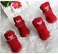 Собака Ботинки и сапоги Очаровательный Сплошной цвет Коричневый Красный