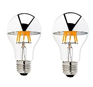 2PCS 6W B22/E27 Half Silver LED Filament Bulbs G60 6 COB 600 lm Warm White Dimmable AC 220-240 AC 110-130 V