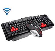 2,4 GHz Wireless-Multimedia-ergonomische USB-Gaming-Tastatur Metall 6 Tasten drahtlose Maus-Sets für Laptop / Computer