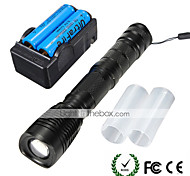 UKing ZQ-X912#-US Cree XM-L T6 2000LM 5Modes LED Flashlight Torch Kit with Batteries and Charger