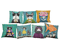 Set of 7 Cute cat pattern  Linen  Cushion Cover Home Office Sofa Square  Pillow Case Decorative Cushion Covers Pillowcases