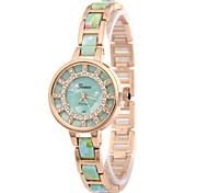 Women's Fashion Watch Simulated Diamond Watch Imitation Diamond Quartz Alloy Band Flower Gold