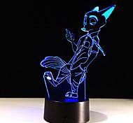 1шт сенсорный 7-цветная лиса светодиодные лампы 3d светлого цвета видение стерео красочный градиент акриловой лампы ночного видения света