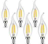 4W E12 Lampadine LED a incandescenza CA35 4 COB 400 lm Bianco caldo Luce fredda Intensità regolabile Decorativo 110-120 V 6 pezzi