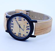 Unisex Armbanduhr Uhr Holz Quartz Leder Band Weiß Weiß