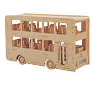 Jigsaw Puzzles DIY KIT Building Blocks 3D Puzzles Educational Wooden Puzzles Building Blocks DIY Toys Bus 1 Wood Beige
