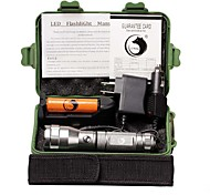UKing ZQ-X995S#-EU Aluminum CREEXPE 1500LM 3Modes Flashlight Torch Kit with 1*18650 Battery and Chargers