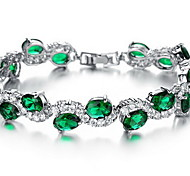 Chain Bracelet Emerald Crystal Crystal Zircon Simulated Diamond Alloy Fashion Jewelry Red Green Jewelry 1pc