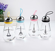 Novelty Transparent Drinkware, 500 ml Portable Leak-proof Glass Bulb Shaped Water Bottle