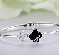 Bangles Sterling Silver Natural Fashion Flower Silver Jewelry 1pc