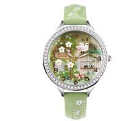Masculino Mulheres Relógio de Moda Quartzo / Couro Banda Casual Verde Verde