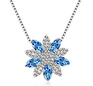 Women's Pendant Necklaces Crystal Chrome Flower Style Euramerican Personalized Light Green Light Blue Red Purple Dark Blue Jewelry For