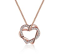 Women's Pendant Necklaces AAA Cubic Zirconia Heart Rose Gold Zircon Rose Gold Plated Tin Alloy AlloyBasic Unique Design Dangling Style