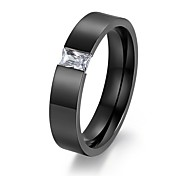 Couples 6mm Stainless Steel 8 heart Imitated CZ Diamond Ring for Both Men and Women Jewelry Wholesale R-082
