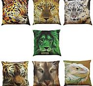 7 PC Lino Cobertor de Cojín Funda de almohada,Sólido Novedad Con Texturas Vida Salvaje Refranes y citasEstilo playero
