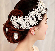 1 Pcs Manually Bride Headdress With Handmade Pearl Tire Headdress Flower Bride Accessories