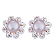 Lureme New Style Flower Shape with Crystal Freshwater Pearl Stud Earrings