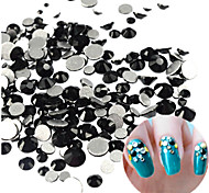1440pcs/bag Mixed Size Fashion Mystic Color Nail Art Shiny Jet Rhinestone Decoration  Nail Art Beauty DIY Jet Rhinestone Decoration