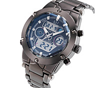 ASJ Hombre Reloj Deportivo Reloj de Pulsera Japonés Cuarzo LCD Calendario Cronógrafo Resistente al Agua Dos Husos Horarios alarmaAcero