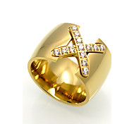 Fashion 'X' Shape Stainless Steel Rings 18K Gold Brand Design  Fashion Jewelry For Women