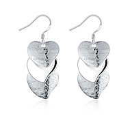 XU Women Fashion Heart-shaped Silver Earrings
