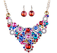 European Fashion Diamond Necklace Earrings Bride Set