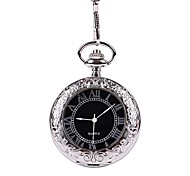 Automatic Silver Flip Lace Carved Transparent Glass Pocket Watch