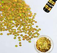 1 Bottle Fashion Gold Laser Glitter Stripe Round Paillette Beautiful Nail DIY Beauty Glitter Decoration Nail Shiny Thin Slice Nail Beauty TW16