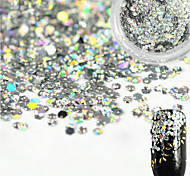 1 Bottle Sweet Style Charming Silver Nail Art Glitter Water Droplet Paillette Decoration Beautiful Shiny Clear Nail DIY Decoration Beauty Design D03