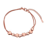 Exquisite Rose Gold Plated Sweet Heart Connected Chain & Link Bracelets Jewellery for Women Accessiories