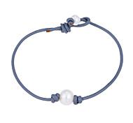 Lureme Single Cultured Freshwater Pearl Leather Bracelet Handmade Pearls Jewelry