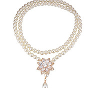Women's Pendant Necklaces Crystal Flower Chrome Petals Gold Silver Rose Gold Jewelry For Birthday Thank You 1pc