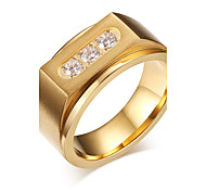 New Fashion Gold Plating Ring Stainless Steel Jewelry Jewelry High polished Three Crystal Rhinestone R-132