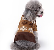 Cat Dog Coat Sweater Dog Clothes Winter Spring/Fall Snowflake Cute Fashion Christmas Grey Coffee British Pet Clothing