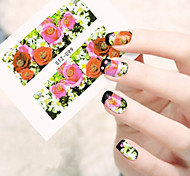 10pcs/set Sweet Style Nail Art Water Transfer Decals Romantic Rose Colorful Flower Design Nail Art Beauty Sticker STZ-099