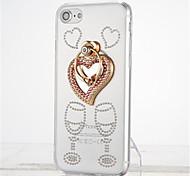 Для Стразы Кольца-держатели Прозрачный Своими руками Кейс для Задняя крышка Кейс для С сердцем Мягкий TPU для Apple iPhone 7