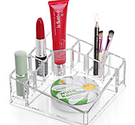 Acrylic Transparent Portable Square Solid Cosmetics Makeup Storage Stand Makeup Brush Pot Cosmetic Organizer for Lipstick Eyeliner Nail Polish