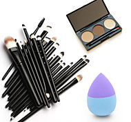 20pcs Makeup Brushes Set Eyeshadow Eyeliner Lip Brush Tool&3Colors Eyebrow Powder Palette&1pc Beauty Puff